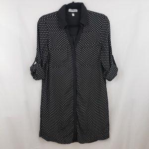 Express Polka Dot Portofino Shirt Dress Size L